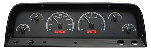 Dakota Digital 64 65 66 Chevy Pickup Truck VHX Analog Dash Gauges Black Alloy Style Red VHX-64C-PU-K-R