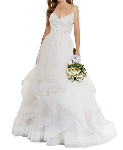 JAEDEN Brautkleid Lang Hochzeitskleider Volants Tüll Spitze Brautmode V-Ausschnitt mit Spaghettiträger Elfenbein EU32