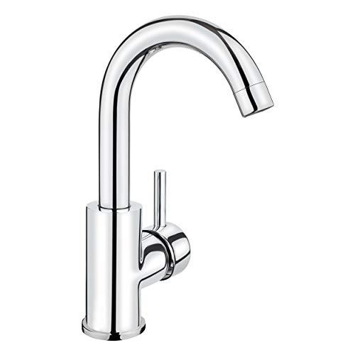 baliv WT-240 Waschtischarmatur verchromt | Wasserhahn mit Pop-up Ventil und extra leichter Montage