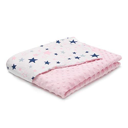 EliMeli Minky - Manta para bebé (tela Minky y y algodón, ideal como regalo), diseño de estrellas, color rosa