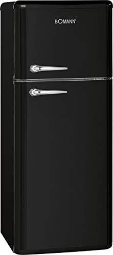 Bomann DTR 353 Doppeltür-Kühlschrank Retro-Style, EEK E, 208 L, Kühlen 160 L, Gefrieren 48 L, Höhe 143 cm, 184 kWh, schwarz