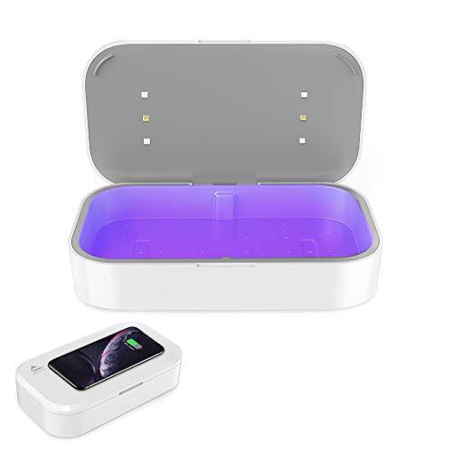 Multifunktional UV Desinfektionsmittel mit Drahtloses Ladegerät, Amlink Geräumiger UV Box Handy Sterilisator mit Aroma Diffusor,10W UV Box Desinfektion mit USB-Aufladung für Masken Babyflaschen Gläser