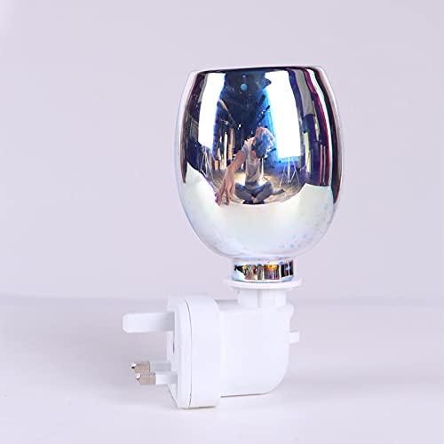N\C Lampada a Cera per aromaterapia Plug-in, fusore Elettrico per Cera, Lampada a Risparmio energetico per fuochi d'artificio 3D a Colori, Lampada per aromaterapia 英式插头