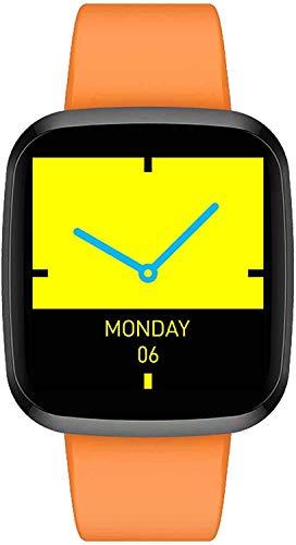 ZHAG Reloj Inteligente Impermeable IP68 1.3 Pulgadas Color Grande Pantalla IPS Brillante 24H Monitoreo de frecuencia cardíaca Pedómetro Deportivo Pulsera Inteligente con Manos levantadas,Orange