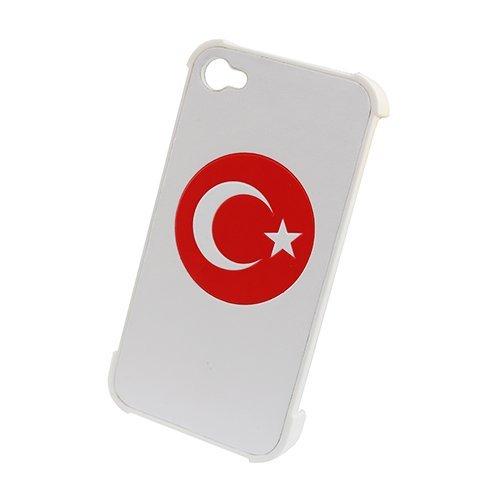 Leder Ledertasche Ledercover Hardcover Hart Back Türkei Türkiye Türkisch Turkey Flagge Motiv Flagge für Apple iPhone 4 4S 4S Schale Schutz Hülle Schutzhülle Tasche Rück Kappe