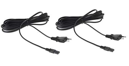 AmazonBasics - Cable de alimentación de repuesto para PS4 y Xbox One S/X - Pack de 2, 3,65 m Negro