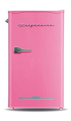 Frigidaire EFR376-PINK Retro Bar Fridge Refrigerator with Side Bottle Opener, 3.2 cu. Ft, Pink