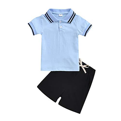 Realde Jungen Mädchen Kurze Hülsen T-Shirts+Kurz Hose Unisex Druckten Rundhals Ausschnitt Kurzarm Bluse Top Outfit Kleider Babykleidung Oberteil for Baby Kleinkind
