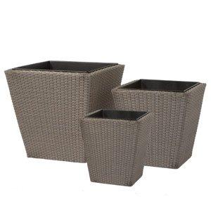 Siena Garden 825850 507098 3 – Pièces de pot de fleurs, Vaisselles Mocha-brushed, plastique tissé carré