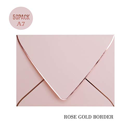 A7 Pink Envelopes with Rose Gold Border 5 x 7 - V Flap, Quick Self Seal, for 5x7 Cards| Perfect for Weddings, Invitations, Photos, Graduation, Baby Shower (Pink-Rose Golden Border)