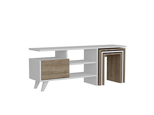 Mueble bajo para televisión, Mueble para la televisión, Mueble para el salón, Color Blanco y Nogal, 2237, 120 x 29,5 x 49 cm