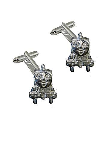 Giftsforall FT381 Manschettenknöpfe, Motiv: Zugmotor, 2,2 x 3,2 cm, aus feinem englischen Zinn, 2 Stück