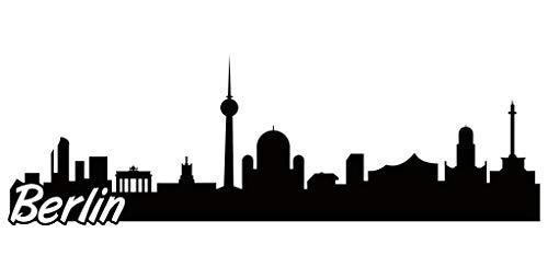 Samunshi® Berlin Skyline Aufkleber Sticker Autoaufkleber City Gedruckt in 7 Größen (30x9,8cm schwarz)