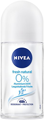 NIVEA Fresh Natural Deo Roll On im 6er Pack (6x 50 ml), Deo Roller ohne Aluminium mit dezent frischem Duft, Deodorant mit 48h Schutz pflegt die Haut