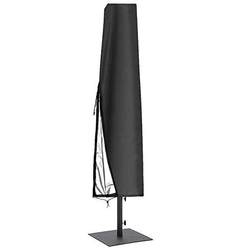 Cubierta Para Sombrilla 600D Transpirable Tela Oxford Impermeable Cubiertas Para Sombrilla De Patio Con Cremallera (195 * 26 * 55 Cm), Para Sombrilla De Jardín Al Aire Libre - Negro,210d,195*(26~55)cm