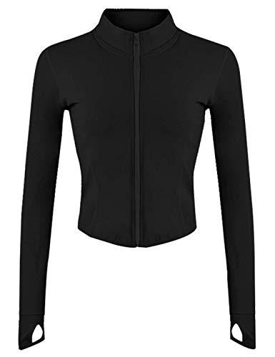 Tanming Women's Full Zip Seamless Workout Jacket Running Yoga Slim Fit Track Jacket(Black-S)