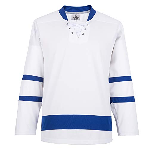 EALER H900 Series - Camiseta deportiva de hockey sobre hielo, multicolor y en blanco, para hombre y mujer, adulto y joven, Junior,  E025blanco, Goalie