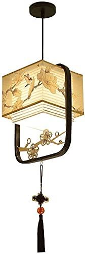 Dkdnjsk Lámpara de techo en forma de linterna de hierro labrado de hierro labrado, simple decorativa china Tela vintage borla luz colgante, iluminación para comedor Puerto Puerto Corredor Chalet Chale