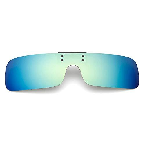クリップオン オーバーサングラス 偏光レンズ uv400カット を防ぐ 夜用メガネ 夜用眼鏡 夜釣り 釣り 運転 夜間運転用 昼夜兼用 男女兼用 (青緑)