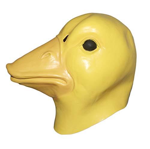 HENGYUTOY Maske Latex Entenkopf Maske Tier Weihnachten Halloween Kostüm Party Dekoration Zubehör Gelb