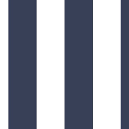 "Navy and White 2 1/2"" Wide Stripe Wallpaper"