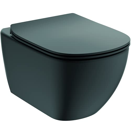 Ideal Standard TESI Pack WC suspendu sans bride, Abattant Déclipsable Ultrafin, Frein de Chute, Chasse d'eau technologie Aquablade, Noir mat T3546V3