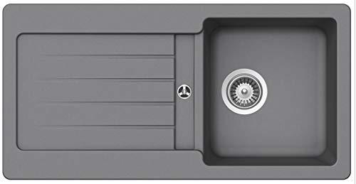 Granitspüle Victory S-VEL860 verschiedenen Farben 860 x 435 mm inkl. Drehexcentergarnitur (lightgray)