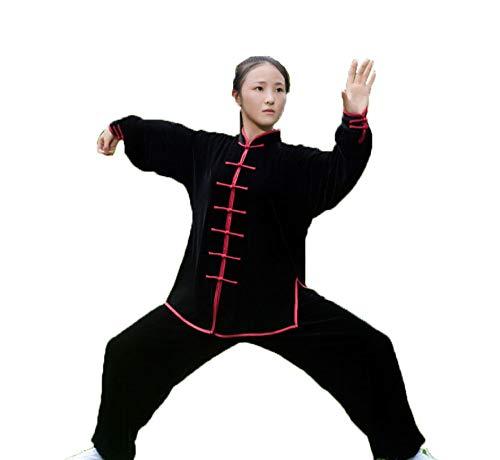 Tai Chi Uniform Und Samt Halten Warm Atmungsaktiv Tai Chi Kleidung Kung Fu Qi Gong Kleidung Kampfsport Kleidung Gruppenleistungskleidung Herbst Winter Style,Black3-XXXL