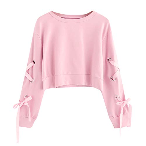 SEWORLD Women Casual Lace Up Long Sleeve Pullover Crop Top Solid Sweatshirt Pink