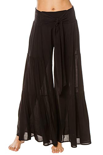 Elan International Women's Wovens Wide Leg Bow Tie Pants Swim Cover Up Black S