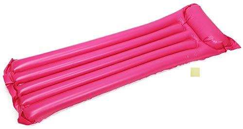 com-four® Luftmatratze mit integriertem Kopfkissen und Reparaturflicken in sommerlichen Farben, 183x69cm (1 Stück - Luftmatratze)