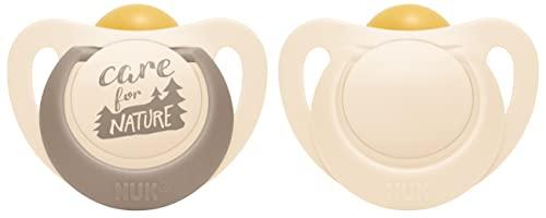 NUK for Nature - Chupete de látex (6-18 meses, 2 unidades), color blanco