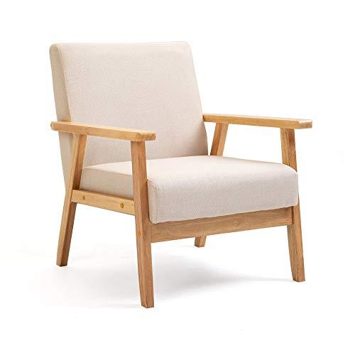 Mingone Gepolsterter Sessel aus Cocktailwannenstuhl Einzelsofa Eleganter Retro-Stuhl Massivholzstruktur für Wohnzimmerempfang Schlafzimmer (Beige,64,5 x 67 x 73,5 cm)