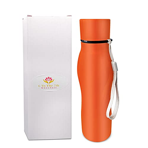 6TT7 Water Bottle - Stainless Steel - 750ml - 25 Ounce - Orange - Leak Proof Cap - Durable - BPA Free - Eco Friendly - Light Weight - Portable - Hydration - Easy to Clean