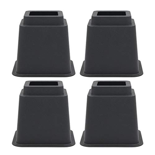 Premium Furniture Risers Bed Lifter, Set of 4 Pieces, Table/Sofa/Chair Riser Leg - Black, 5 Inch Height