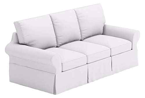 The Sofa Cover is 3 Seat Sofa Slipcover Replacement. It Fits Pottery Barn PB Basic Three Seat Sofa (Basic Cotton White)