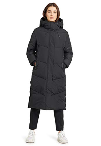 khujo Damen Mantel SONJE knielanger Steppmantel Wintermantel mit Kapuze und Reißverschluss