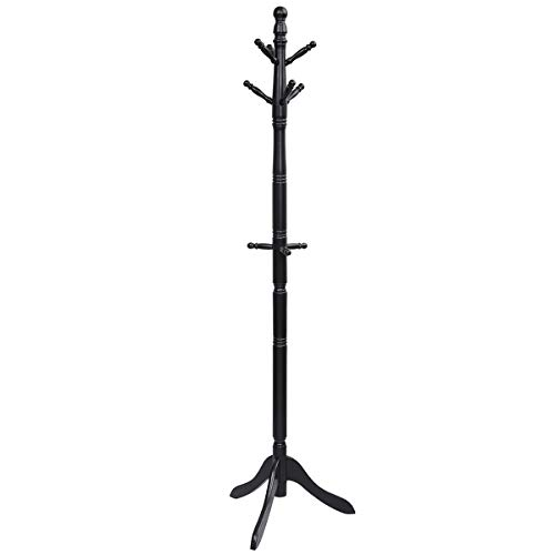 Tangkula Wood Coat Rack Entryway Height Adjustable Coat Satnd with 9 Hooks Stable Tri-Legged Base Rubber Wood Coat Tree Hall tree Coat Hanger Stand for Home Office Hall Entryway