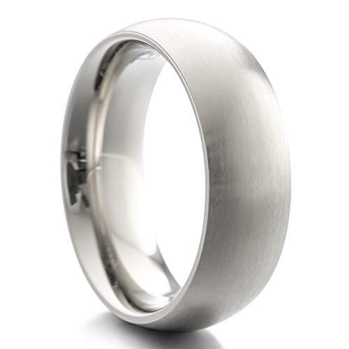 Heideman Ring Damen und Herren Paari aus Edelstahl Silber Farben poliert oder matt Damenring für Frauen und Männer Partnerringe 7mm breit schmaler gewölbter Ring strichmatt Gr.56 hr7030-4-56