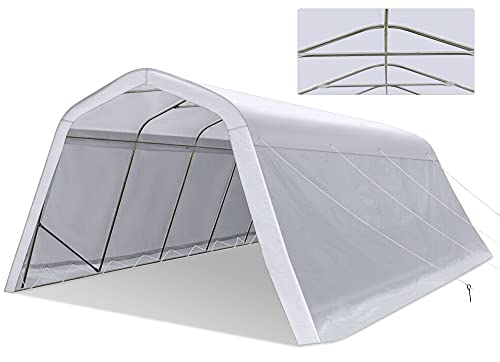 Tentking 2021 Upgraded 11x20ft Heavy Duty Carport with 12 Legs, Portable Garage with Reinforced Metal Frame and Extra-Thick 230g PE Ripstop Cover, Car Canopy Shelter for Garden Storage
