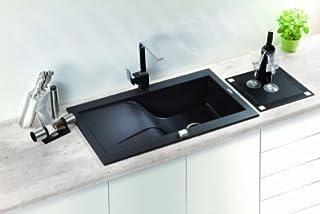 DEANTE edle hochwertige Designer Granit-Spüle – 1 – Kammer Rundum Spüle mit Abtropffläche Model-rapsodia – 860 x 500 mm Farbe: Graphit/Metallic