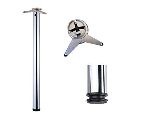 Stützfuß höhenverstellbar 1100 mm + 40 mm Chrom Optik Rundrohr D 60 mm Möbelfuß kürzbar mittls Flexsäge Tischbein Tisch