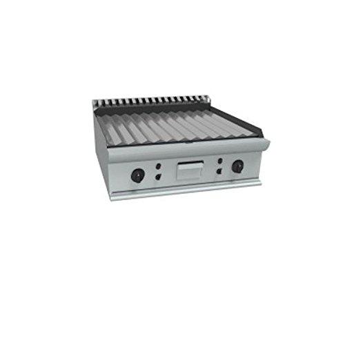Fry Top électrique à meuler Plaque rayée en acier douce poli – Dim. CM 70 x 70 x 27H