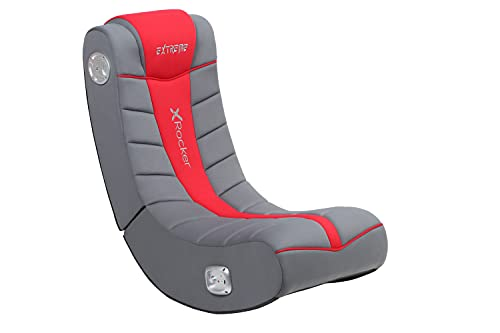 X Rocker Extreme III 2.0 Sound Wired Foldable Video Gaming Rocking Floor Chair, with 2 Speakers- Black/Red, 51491