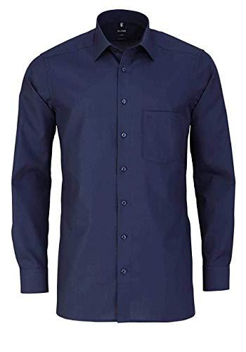 Olymp Luxor modern fit Hemd Langarm mit New Kent Kragen Popeline Nachtblau Größe 42