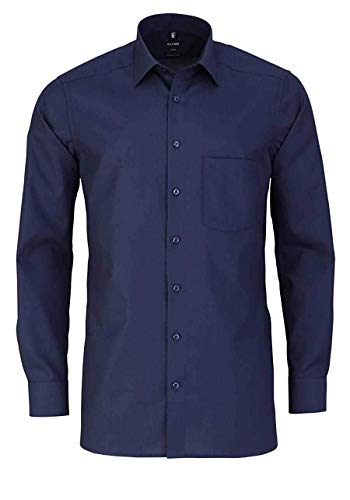 OLYMP Herren Oberhemd Langarm Luxor,Uni,modern fit,New Kent,Kobalt 08,44