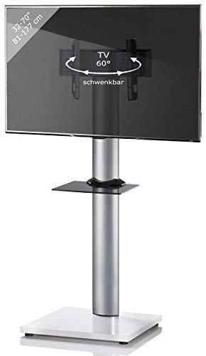 VCM TV Standfuß LED Ständer Fernseh Alu Glas Universal VESA Mobil Rollen Zwischenboden Weißlack/Schwarzglas