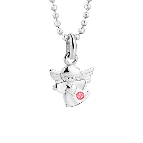 butterfly Mädchen Silberkette Sterling-Silber 925 Swarovski Elements Schutz-Engel Glücksbringer Rosa Längen-verstellbar Satin-Beutel Geschenk