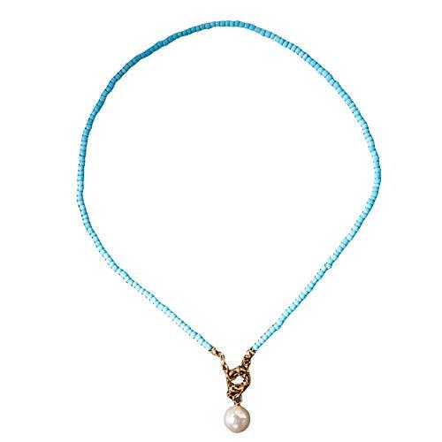 Collar para mujer, colgante de perlas de imitación bohemias con cuentas y collar de verano para playa, regalo de joyería – azul