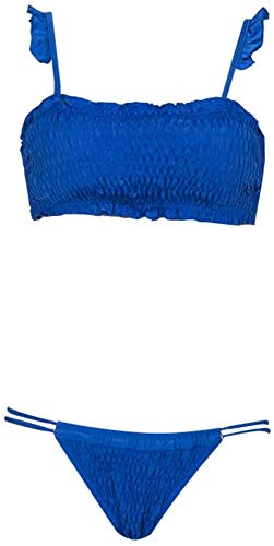 Sexy vrouwen split zwembroek, lage taille verpakt borst bikini effen kleur backless kant badpak tweedelig pak, Maat: L, Kleur: Zwart (Color : Blue, Size : XL)